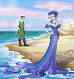 Sorcière de Beautifil du conte de fées 8. avec un prince. Image libre de droits