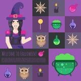 Sorcière de Halloween avec des icônes et des boutons de chaudron réglés Photographie stock