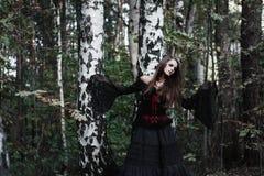Sorcière de Halloween dans une belle jeune femme de forêt foncée dans le costume de sorcières Conception d'art de Halloween Fond  photographie stock