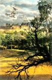 Sorcière de Halloween et château médiéval Image libre de droits