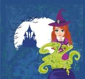 Sorcière de Halloween préparant le breuvage magique Photo stock