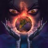 Sorcière mauvaise tenant une planète brûlante Images libres de droits