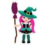 Sorcière mignonne de Halloween avec le balai rose illustration de vecteur