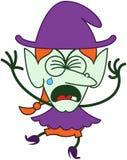 Sorcière mignonne de Halloween pleurant et sanglotant Photos stock