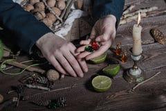 Sorcière préparant le breuvage magique photographie stock libre de droits