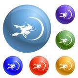 Sorcière sur le vecteur d'ensemble d'icônes de balai illustration libre de droits