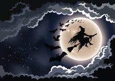 Sorcière sur son fond de Halloween de manche à balai photographie stock libre de droits