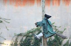 Sorcière sur un poteau avec le balai Photos libres de droits