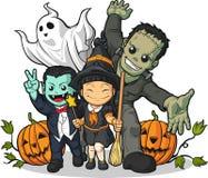 Sorcière, vampire, Frankenstein, ordinateur de secours et potiron Image libre de droits