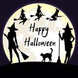 Sorcières de Halloween et fond de lune d'imbécile Photo stock