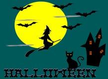 Sorcières montant des balais, lune, batte, chat, château, alphabet de Halloween illustration libre de droits