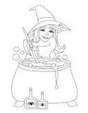 Sorcière de Halloween préparant le breuvage magique Photo libre de droits