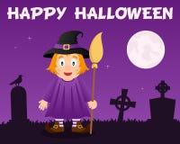 Sorcière et cimetière mignons heureux de Halloween Photographie stock