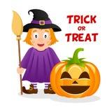 Sorcière et potiron mignons Halloween heureux Images stock