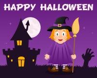 Sorcière mignonne de Halloween et Chambre hantée Photo libre de droits