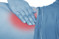 Sore appendicitis, shown red, keep handed Stock Photography