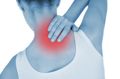Sore back, shown red, keep handed Stock Photos
