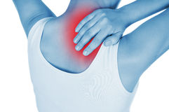 Sore back, shown red, keep handed Royalty Free Stock Images
