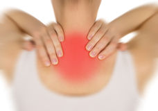 Sore back, shown red, keep handed Royalty Free Stock Photos