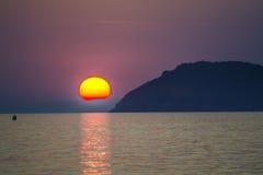 Sore. Beautiful sunset above the sea Stock Photos