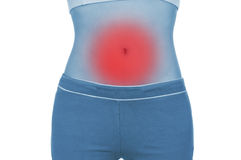 Sore belly, shown red, keep handed Stock Photo