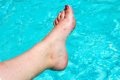 Sore foot. A female sore foot with red nailpolish relaxing next to a swimming-pool Royalty Free Stock Photos