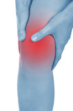 Sore knee, legs, shown red, keep handed Stock Images