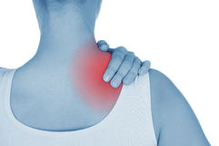 Sore shoulder, shown red, keep handed Royalty Free Stock Photo