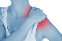 Sore shoulder, shown red, keep handed. Isolated on white background Stock Image