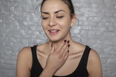 Sore throat and cough. Portrait of a women Stock Photo