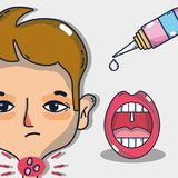 Sore throat infection symptoms with treatment. Vector illustration Stock Photos