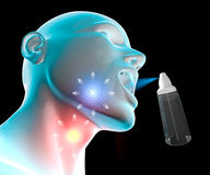 Sore throat inflammation. Pain, spray atomizer Stock Photography