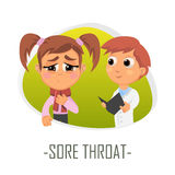 Sore throat medical concept. Vector illustration. Stock Photography