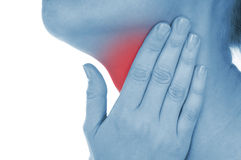 Sore throat, shown red, keep handed Royalty Free Stock Photos
