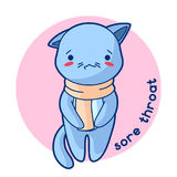 Sore throat sick cute kitten. Illustration of kawaii cat Royalty Free Stock Photos
