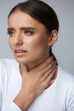 Sore Throat. Sick Woman Suffering From Pain, Painful Swallowing. Royalty Free Stock Photography