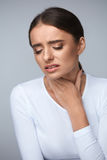 Sore Throat. Sick Woman Suffering From Pain, Painful Swallowing. Stock Photos