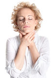 Sore throat woman Stock Photography