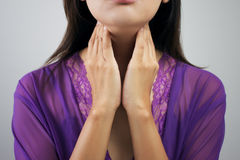 Sore throat woman. Sore throat, Sore throat woman royalty free stock photos