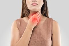 Sore throat woman on gray background. The photo of thyroid is on the human body, Women thyroid gland control. Sore throat of a people against gray background royalty free stock image