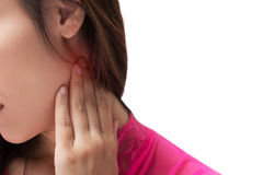 Sore throat woman. Isolate on white background royalty free stock image