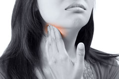Sore throat woman. Isolate on white background stock photos