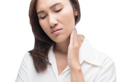 Sore throat woman. Lymph node at neck stock photo