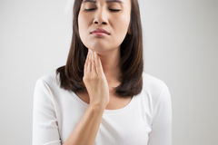 Sore throat woman Royalty Free Stock Photos
