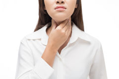 Sore throat woman. On white background stock photo