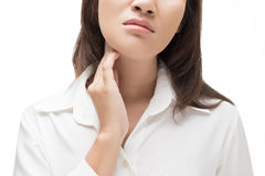 Sore throat woman. On white background royalty free stock images