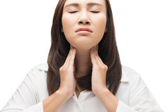 Sore throat woman. On white background stock photos
