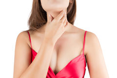 Sore throat woman. On white background royalty free stock image