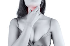Sore throat woman on white background. Sore throat woman isolate on white background stock photo