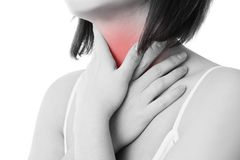 Sore throat of a women Stock Image